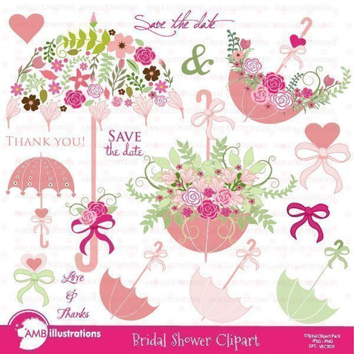 Bridal Shower and Wedding clipart  AMBillustrations    Mygrafico