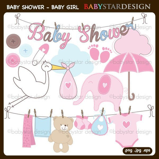 Baby Shower for Baby Girl Clipart by Babystar Design Cliparts Babystar Design    Mygrafico