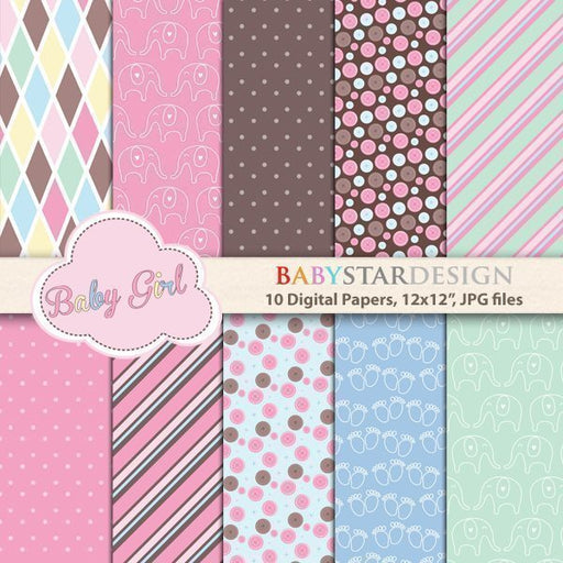 Baby Shower for Baby Girl Papers and Backgrounds  Babystar Design    Mygrafico