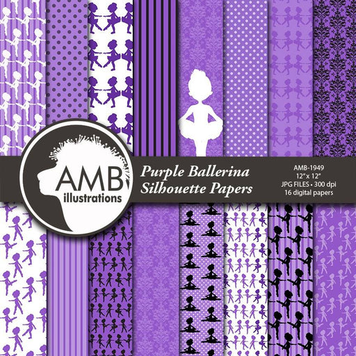 Ballet silhouette digital papers, Ballerina papers, Purple Ballet silhouettes paper, Lavender Ballerina papers, Ballet papers, AMB-1949 Digital Paper & Backgrounds AMBillustrations    Mygrafico
