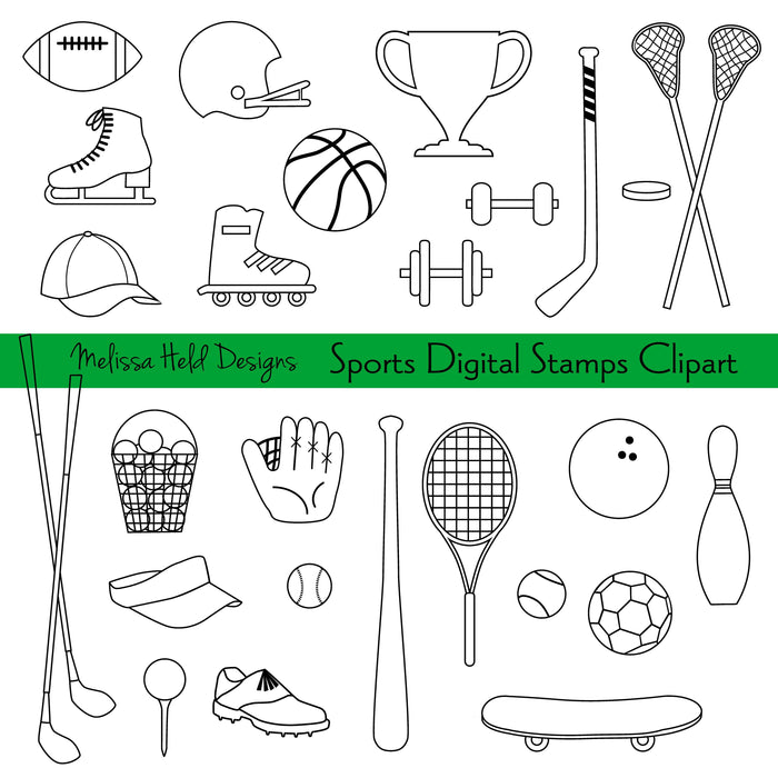 Sports Digital Stamps Clipart