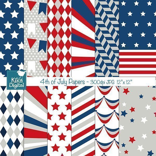 4th of July Papers Digital Papers & Background Kika Digital    Mygrafico