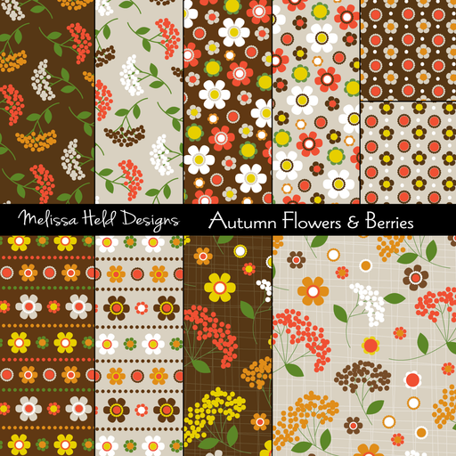 Autumn Flowers and Berries - Autumn Paper Digital Paper & Backgrounds Melissa Held Designs    Mygrafico