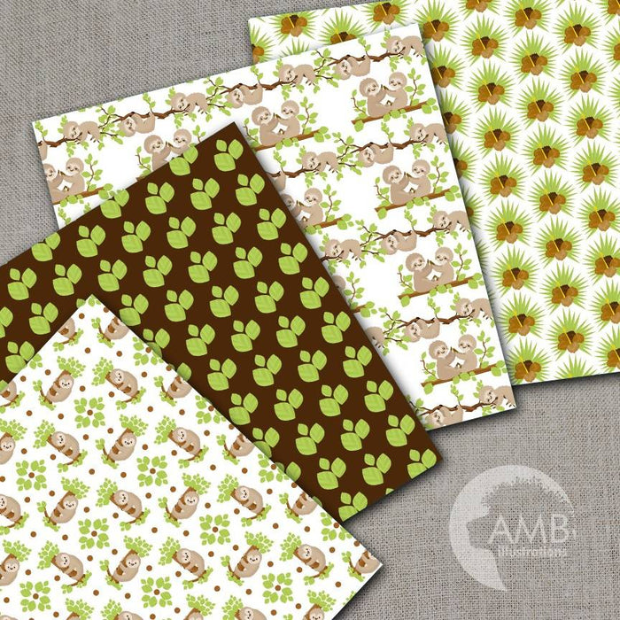 Sleepy Sloth Digital Papers, Sloths digital backgrounds, Cute sloth pattern papers, for card making and crafts, Comm Use, AMB-2206 Digital Paper & Backgrounds AMBillustrations    Mygrafico