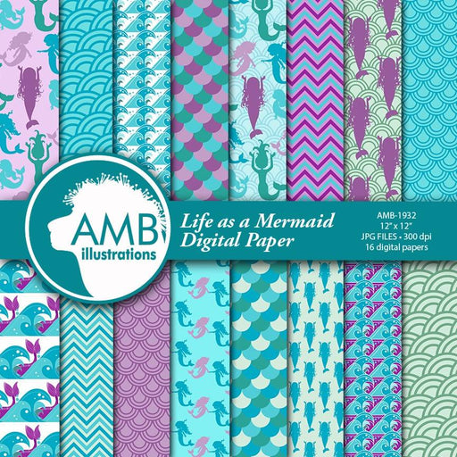 Mermaid Digital Papers, Nautical Papers, Ocean papers, Mermaid papers, Mermaids, mermaid scales paper, commercial use, AMB-1932 Digital Paper & Backgrounds AMBillustrations    Mygrafico