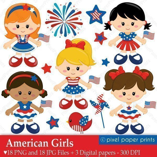 American Girls - 4th of July Clipart & Digital Papers  Pixel Paper Prints    Mygrafico
