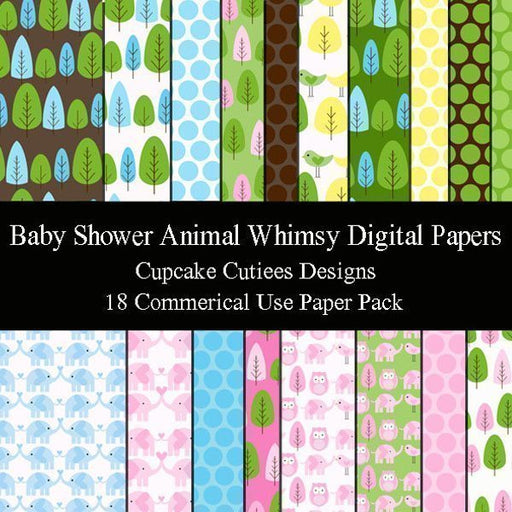 Baby Shower Animal Whimsy Digital Papers  Cupcake Cutiees    Mygrafico