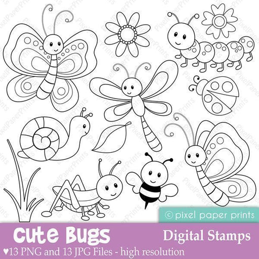 Cute Bugs Digital Stamps  Pixel Paper Prints    Mygrafico