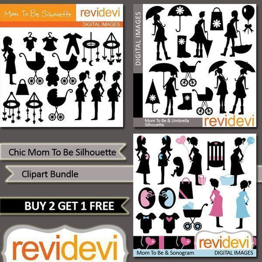 Chic Mom To Be Silhouette Clipart Bundle  Revidevi    Mygrafico