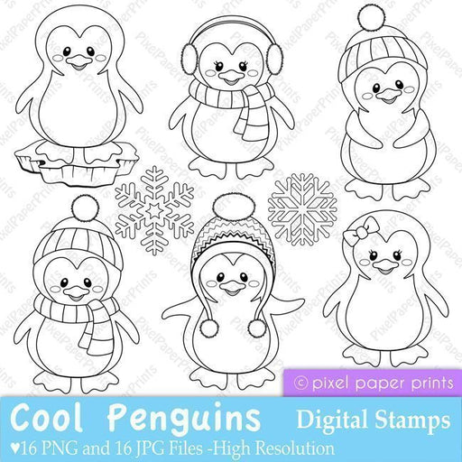 Penguin Digital Stamps  Pixel Paper Prints    Mygrafico