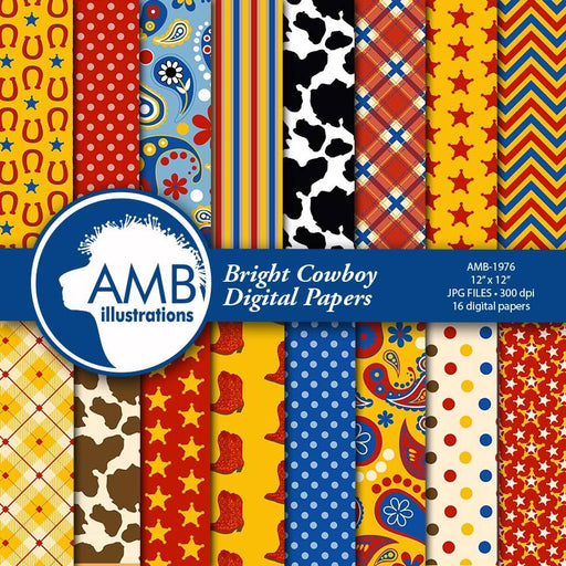 Cowboy Digital Paper, Cowboys in Bright Colors, Western Theme Scrapbooking papers, The Old West Digital Papers, Commercial Use, AMB-1976 Digital Paper & Backgrounds AMBillustrations    Mygrafico