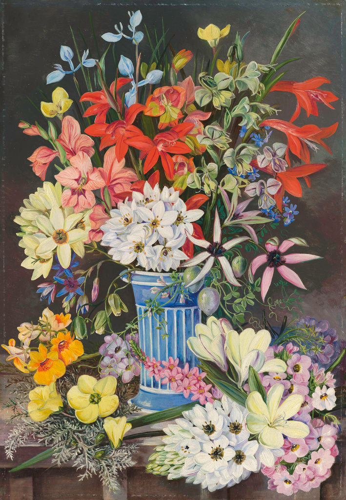 Detail of 409. Old Dutch Vase and South African Flowers. by Marianne North