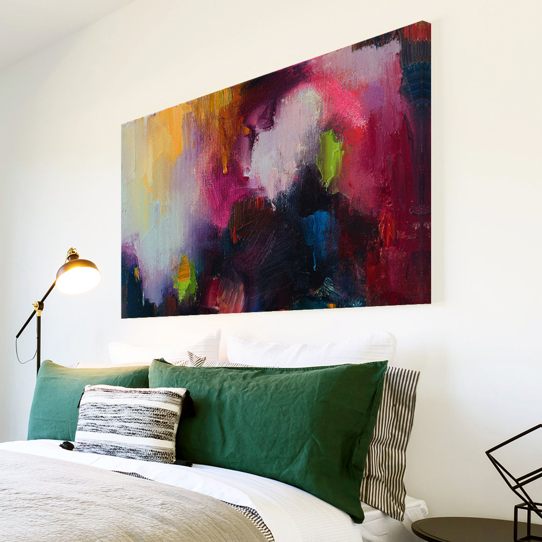 AB1717A Framed Canvas Print Colourful Modern Abstract Wall Art - black pink textured paint-Canvas Print-WhatsOnYourWall