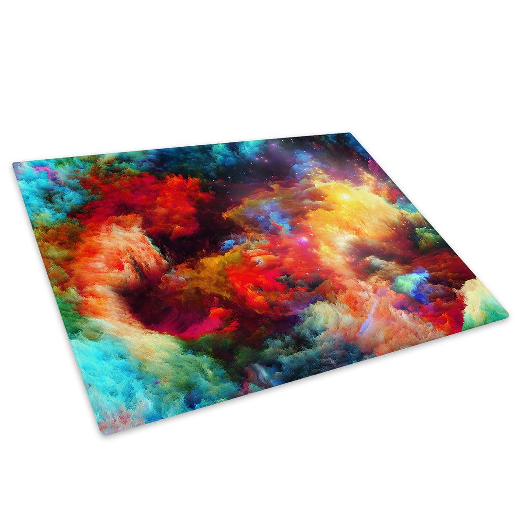 Colourful Stars Cool Glass Chopping Board Kitchen Worktop Saver Protector - AB361-Abstract Chopping Board-WhatsOnYourWall