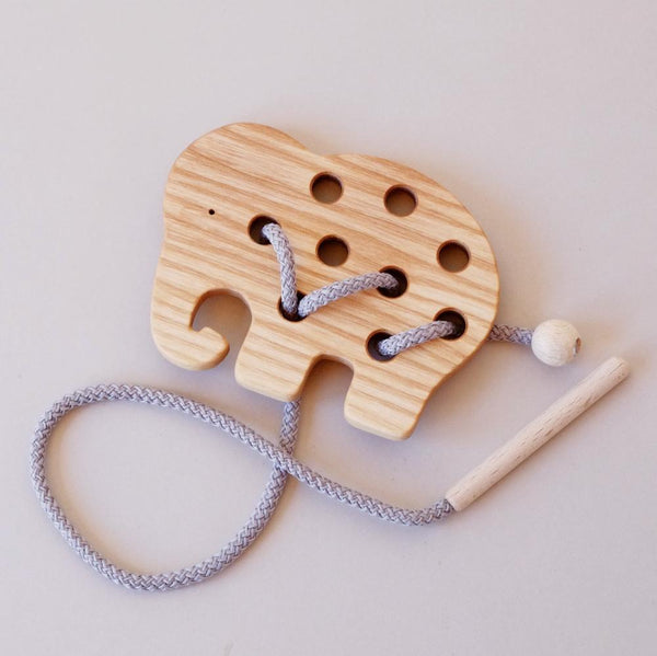 Wooden Lacing Toy - Elephant
