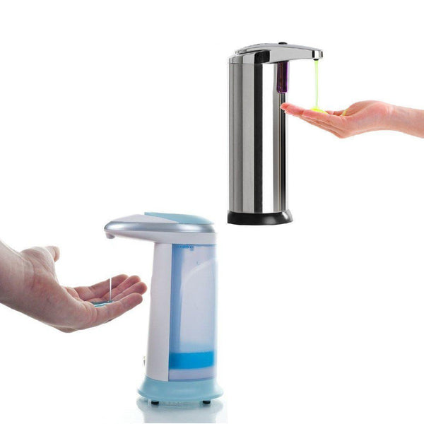 Combo - Combo Touchless Motion Sensored Steel Soap Dispenser + Plastic Soap Dispenser With Led And Sound