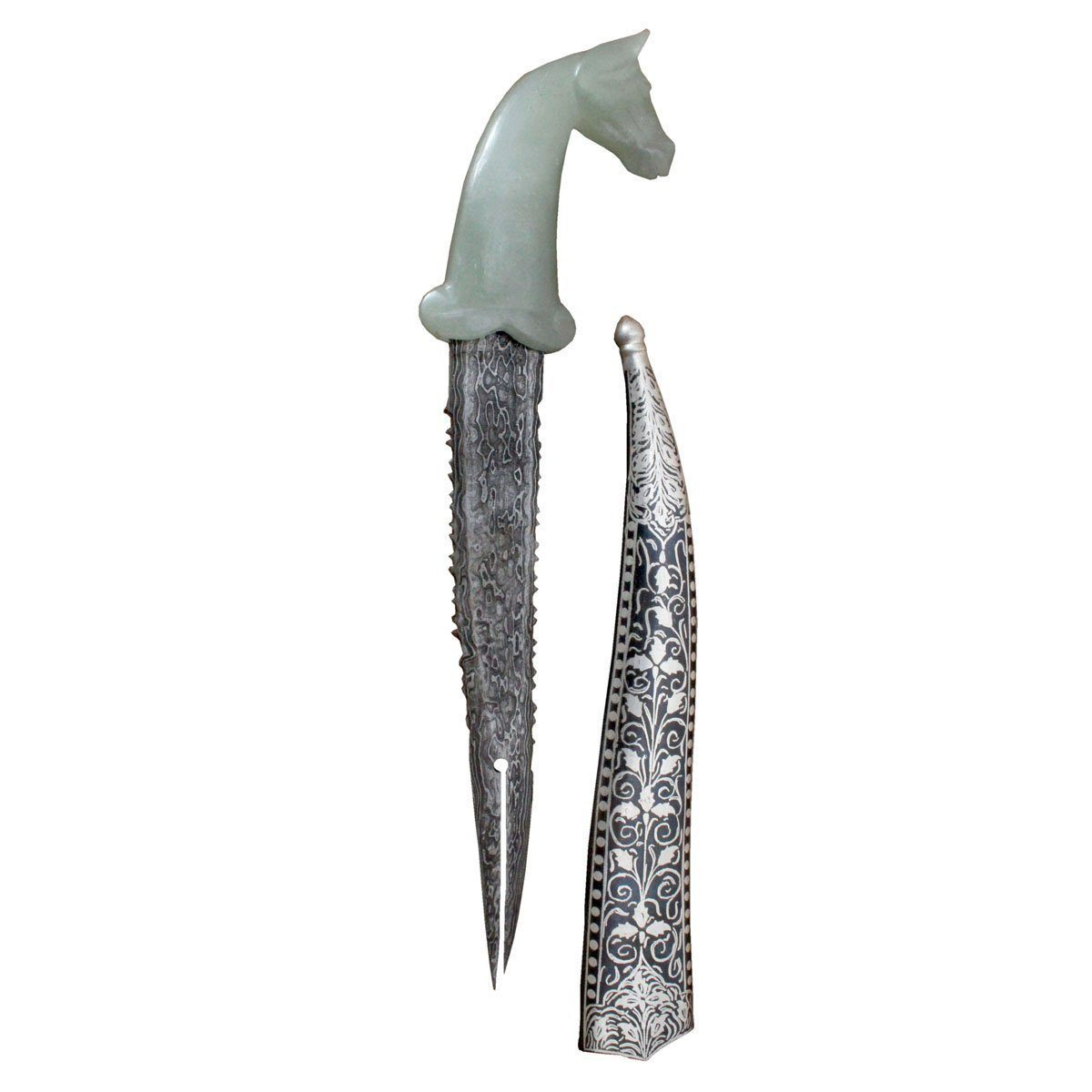 Dagger - Jade Semi Precious Stone Handle With Ancient Medieval Antique Crusader Khanjar Dagger - 10 Inches