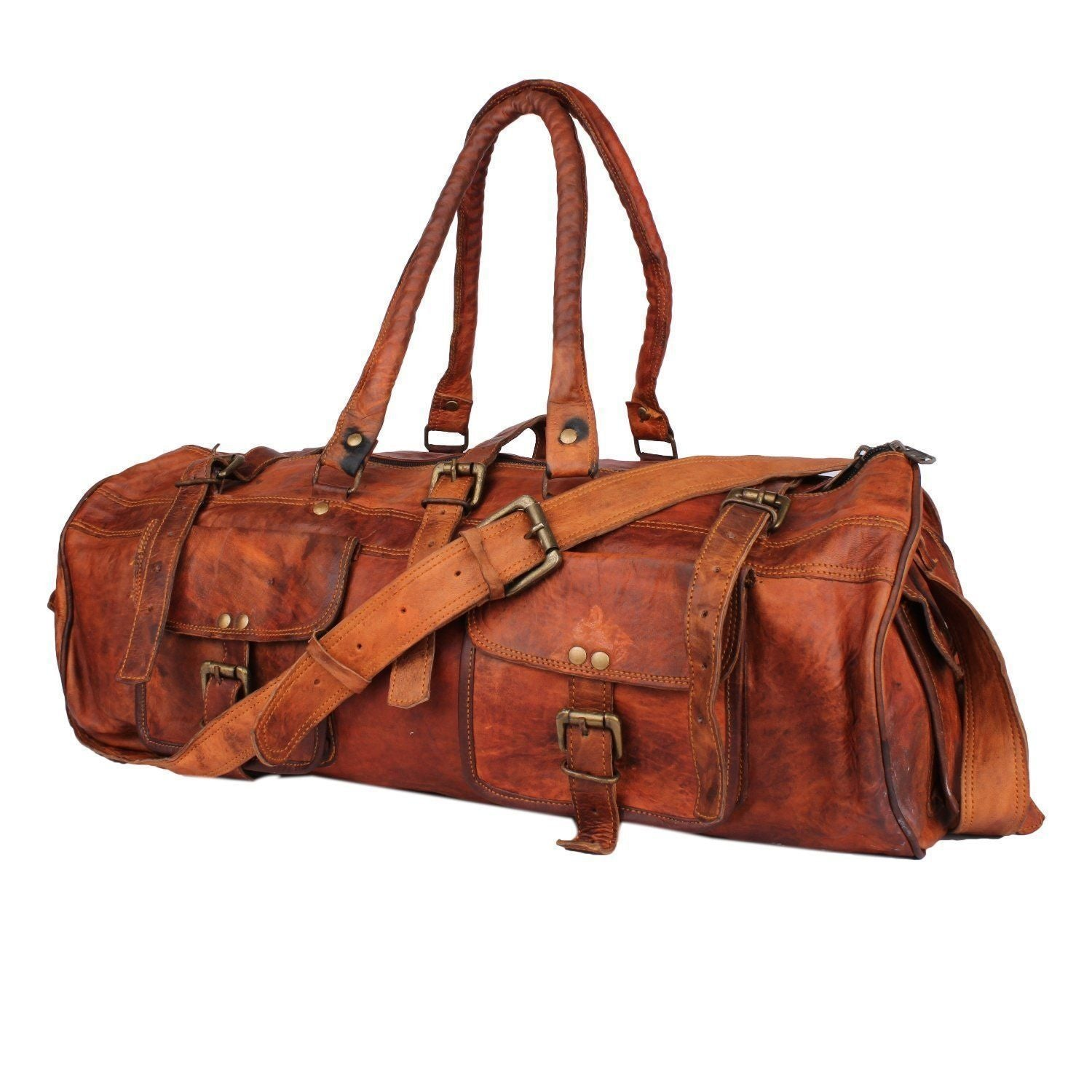 Leather - IN-INDIA Hard Bound Heavy Duty Exclusive Pure Leather 2 Pocket Duffel Bag - 22 Inches