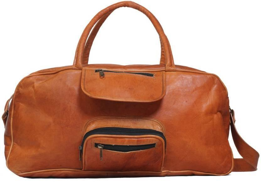 Leather - IN-INDIA Hard Bound Rustic Leather Light Weight Duffel Travel Bag 20 Inch