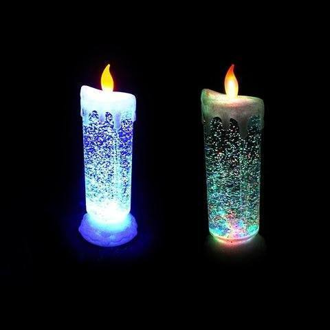 Led - Auto Rotating Glitter Rechargeable Led Candle Cum Light Show