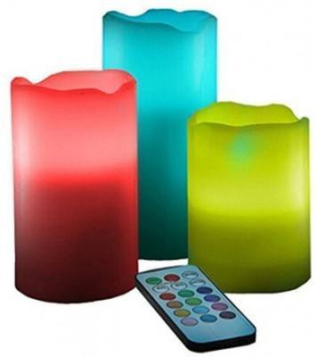 Led - Tuzech Remote Color Changing LED Pillar Luma Candle Lamp (Multicolor, Pack Of 3)
