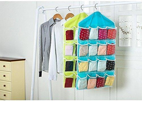 Organiser - Multipurpose Candy Color Wardrobe/ Wall Mounted 16 Grid Storage Bag For Clothing, Accessories, Small Gadgets, Slippers, Toys Organiser