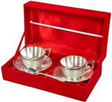 Silver Plated - In Indea  Silver Plated 2 Cup Plate And Spoon Set
