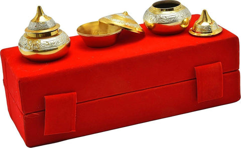 Silver Plated - IN-INDIA Kumkum Box Set Beautiful Silver Gold Plated Kumkum Box