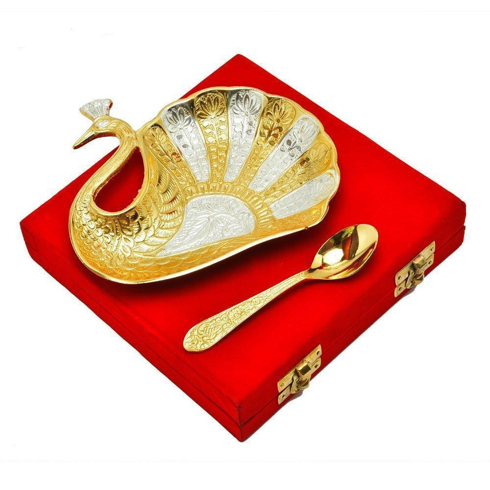 Silver Plated - IN-INDIA Silver & Gold Plated Peacock Design Brass Plate With Spoon