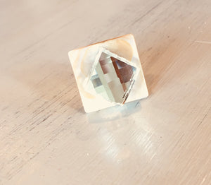 Crystal glass and Mother of Pearl Statement Ring!