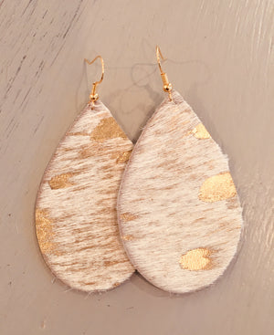 Gold and Cream Cowhide Leather teardrops!