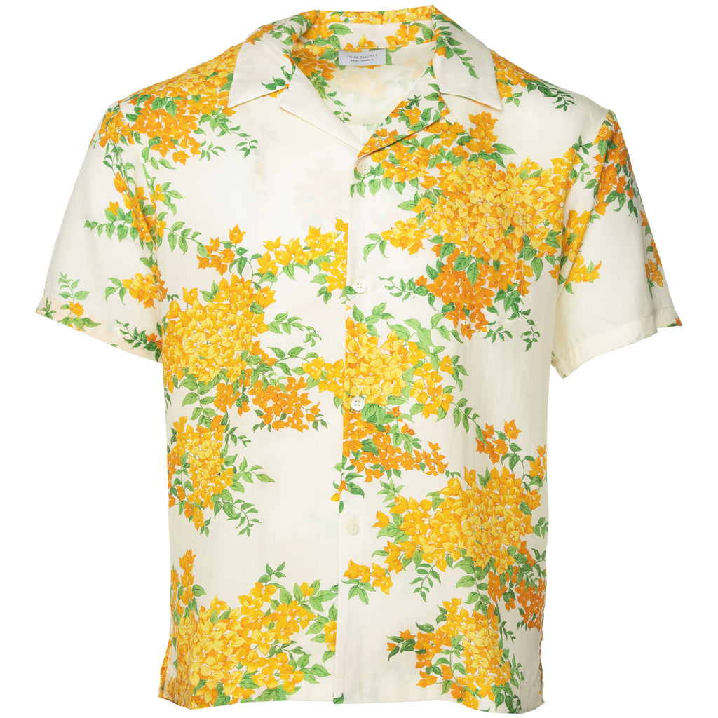 White Bougainvellea Bowling Shirt