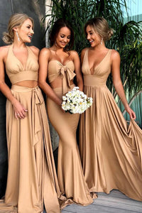 Stunning A-Line V-Neck Elastic Satin Bridesmaid Dresses with Split