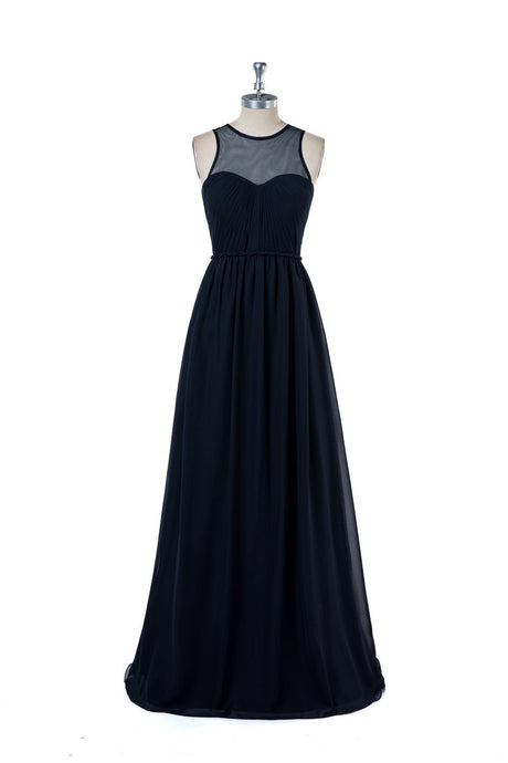 Sleeveless Dark Navy Long Bridesmaid Dresses