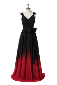 V-Neck Shoulder Straps Bridesmaid Dresses