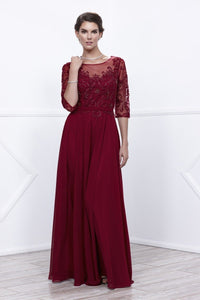 Sleeved Burgundy Mother Dress