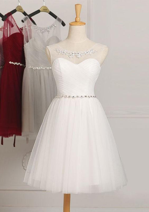 White Glowing Natural Knee-length A-line/Princess Bridesmaid Dresses