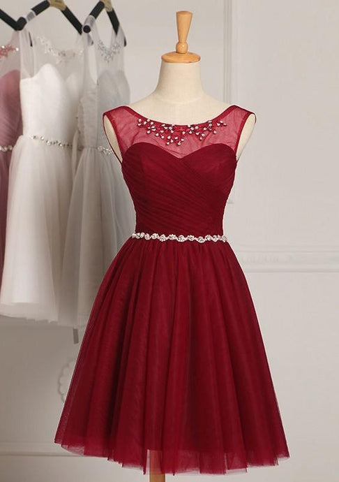 Red Glowing Natural Knee-length A-line/Princess Bridesmaid Dresses