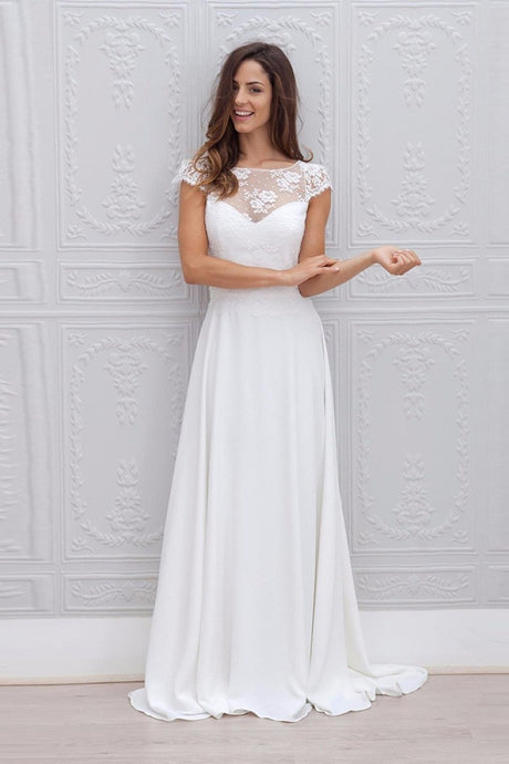 A-line Cap sleeve Long Lace Chiffon Bridal Wedding Dress