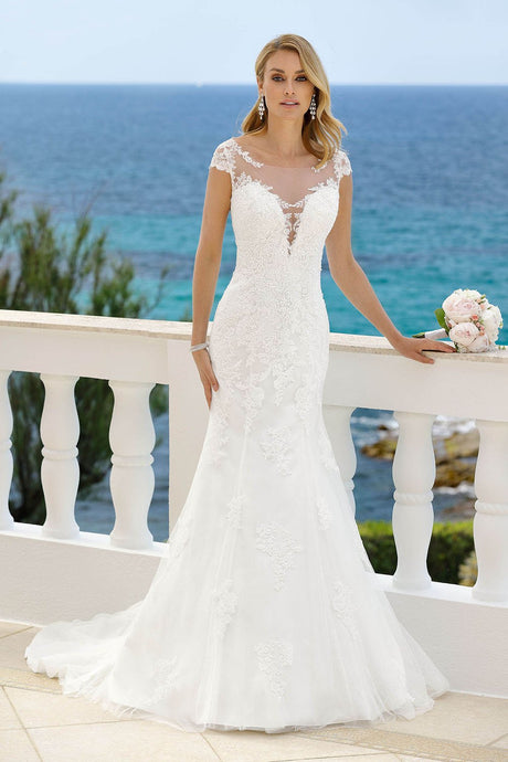 Cap Sleeves Illusion V-Neck Lace Mermaid Wedding Dresses