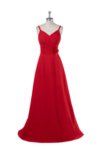 Red A-Line Long Bridesmaid Dresses with Flowers