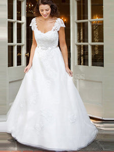 Attractive White Applique Tulle Sweep Train Zipper Wedding Dresses