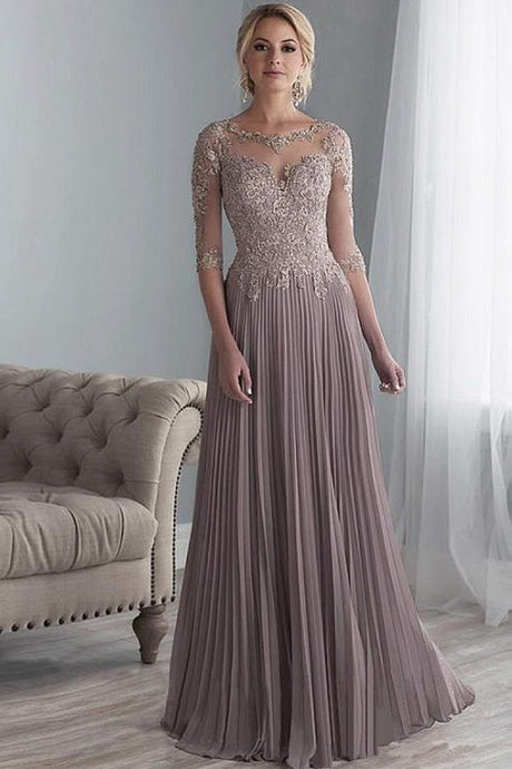 Chiffon A-Line Floor-Length Mother of The Bride Dresses with Lace Applique