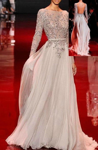 A-Line Long Sleeves Lace Applique Beading Floor length Chiffon Evening Dresses