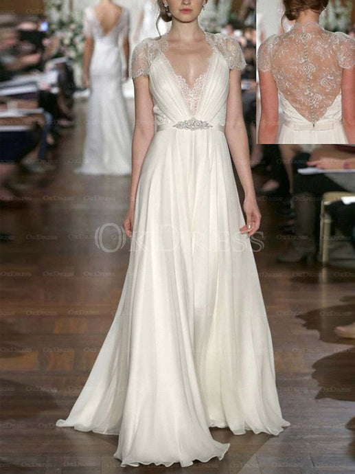 Beautiful Short Sleeve A-line/Princess Chiffon Wedding Dresses