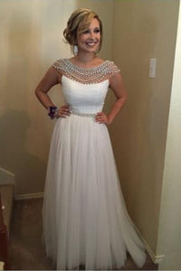 White Fantastic Beading Cap Sleeves A-line Floor-length Bridesmaid Dresses
