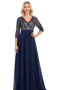 Plus Size Long Sleeve Lace Mother of the Bride Formal Dress
