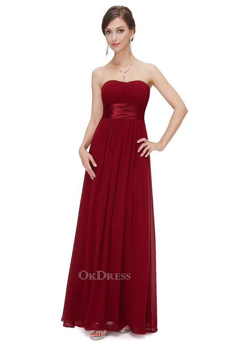 Burgundy Chiffon A-line Strapless Long Prom/Bridesmaid Dresses