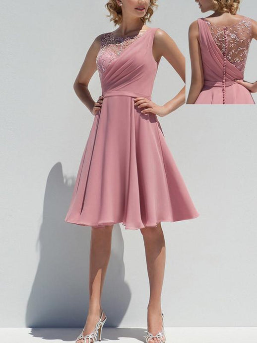 Modern Chiffon Appliqued Covered Button A-line/Princess Bridesmaid Dresses