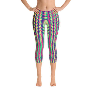 Vibrant Colorful Geometry Women's Capri Leggings